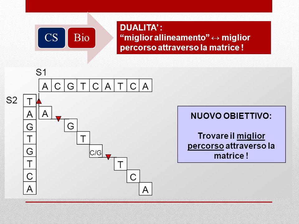 BioCS DUALITA : miglior allineamento miglior percorso attraverso la matrice ! NUOVO OBIETTIVO: Trovare il miglior percorso attraverso la matrice !