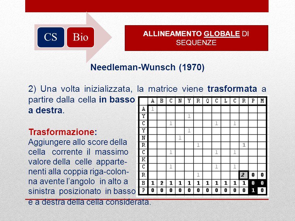 BioCS ALLINEAMENTO GLOBALE DI SEQUENZE Needleman-Wunsch (1970) 2) Una volta inizializzata, la matrice viene trasformata a partire dalla cella in basso