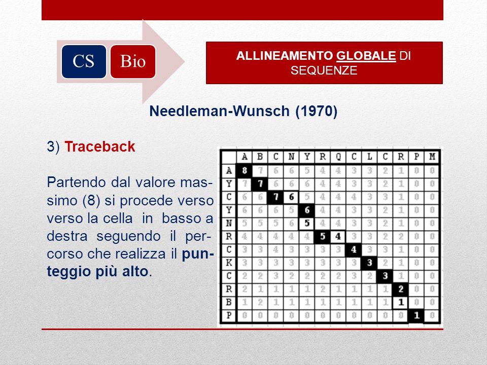BioCS ALLINEAMENTO GLOBALE DI SEQUENZE Needleman-Wunsch (1970) 3) Traceback Partendo dal valore mas- simo (8) si procede verso verso la cella in basso