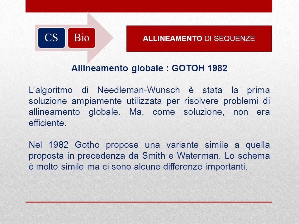BioCS ALLINEAMENTO DI SEQUENZE Allineamento globale : GOTOH 1982 Lalgoritmo di Needleman-Wunsch è stata la prima soluzione ampiamente utilizzata per r