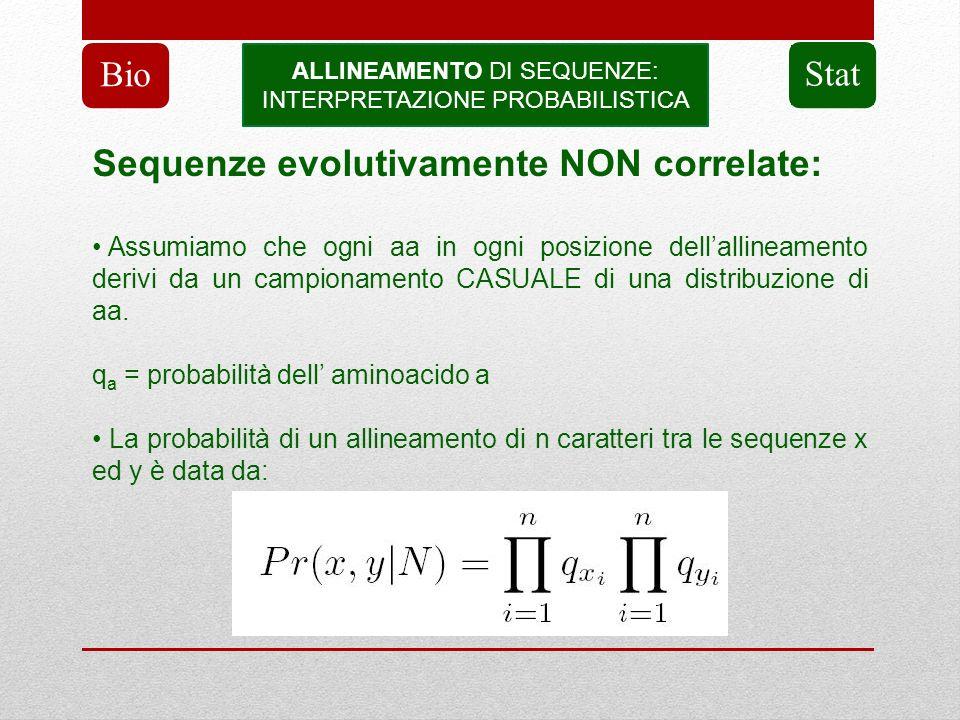 ALLINEAMENTO DI SEQUENZE: INTERPRETAZIONE PROBABILISTICA Bio Stat Sequenze evolutivamente NON correlate: Assumiamo che ogni aa in ogni posizione della