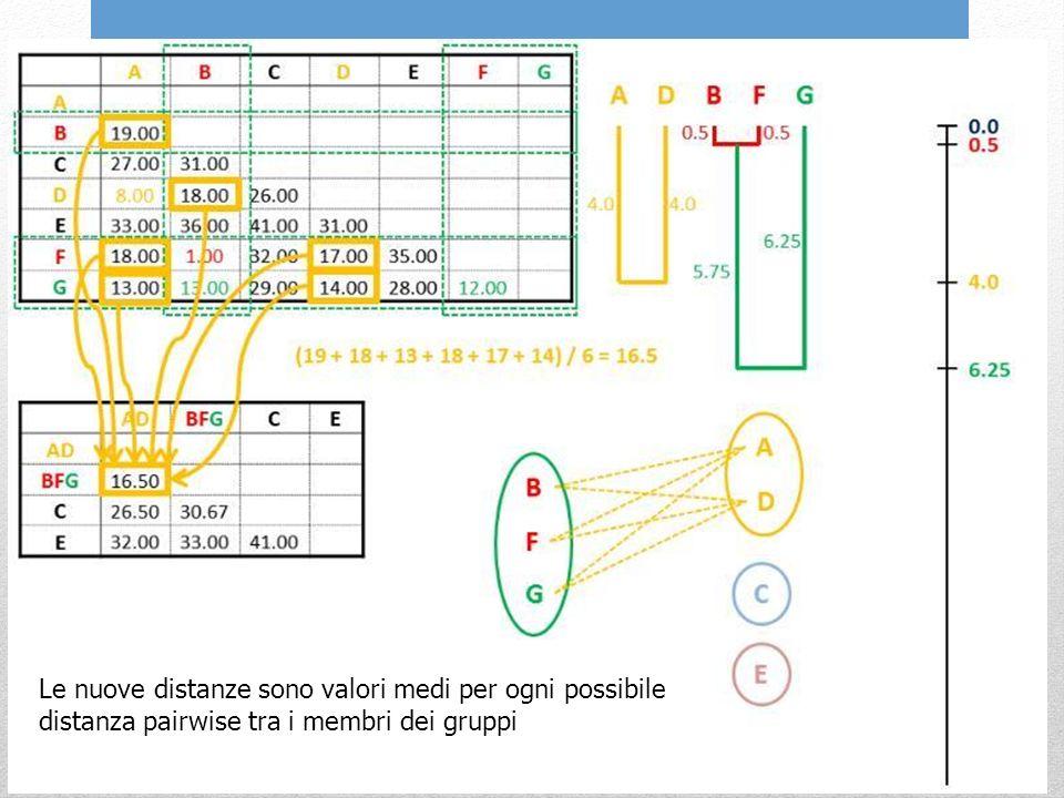 Le nuove distanze sono valori medi per ogni possibile distanza pairwise tra i membri dei gruppi