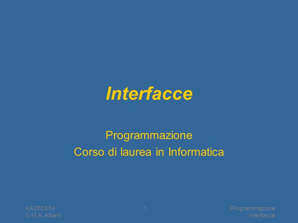 AA2003/04 © M.A. Alberti Programmazione Interfacce 1 Programmazione Corso di laurea in Informatica