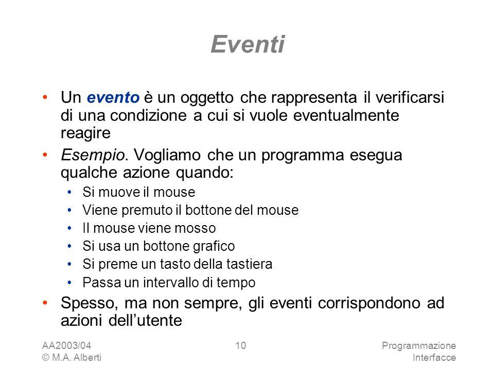 AA2003/04 © M.A. Alberti Programmazione Interfacce 10 Eventi Un evento è un oggetto che rappresenta il verificarsi di una condizione a cui si vuole ev