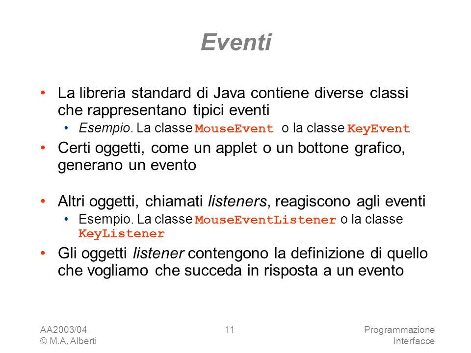 AA2003/04 © M.A. Alberti Programmazione Interfacce 11 Eventi La libreria standard di Java contiene diverse classi che rappresentano tipici eventi Esem