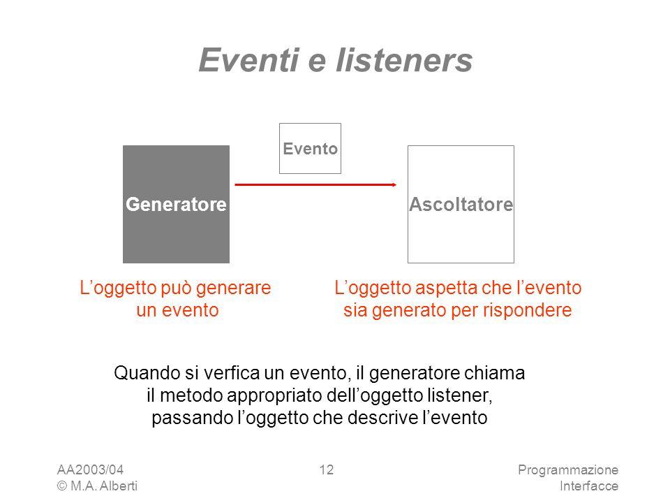 AA2003/04 © M.A. Alberti Programmazione Interfacce 12 Generatore Eventi e listeners Loggetto può generare un evento Ascoltatore Loggetto aspetta che l