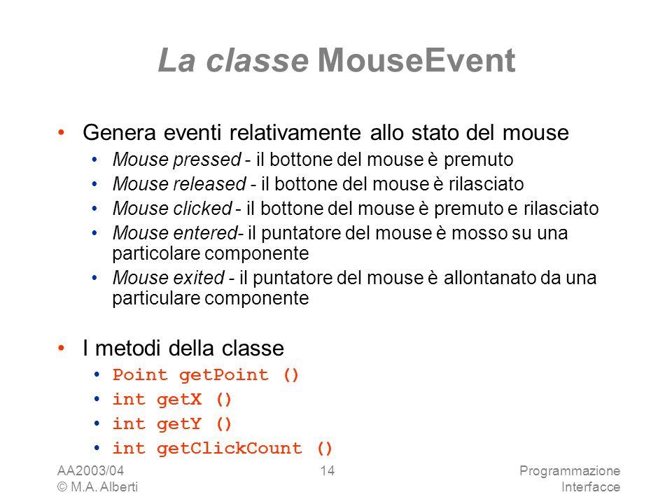 AA2003/04 © M.A. Alberti Programmazione Interfacce 14 La classe MouseEvent Genera eventi relativamente allo stato del mouse Mouse pressed - il bottone