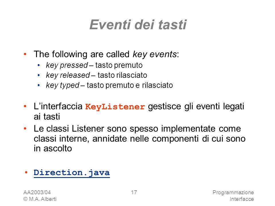 AA2003/04 © M.A. Alberti Programmazione Interfacce 17 Eventi dei tasti The following are called key events: key pressed – tasto premuto key released –