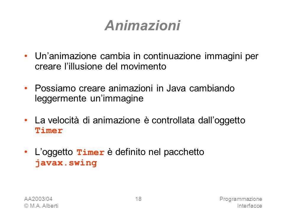 AA2003/04 © M.A. Alberti Programmazione Interfacce 18 Animazioni Unanimazione cambia in continuazione immagini per creare lillusione del movimento Pos
