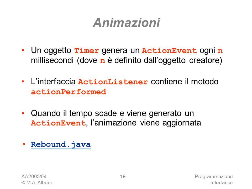 AA2003/04 © M.A. Alberti Programmazione Interfacce 19 Animazioni Un oggetto Timer genera un ActionEvent ogni n millisecondi (dove n è definito dallogg
