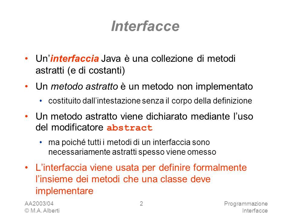 AA2003/04 © M.A. Alberti Programmazione Interfacce 2 Uninterfaccia Java è una collezione di metodi astratti (e di costanti) Un metodo astratto è un me