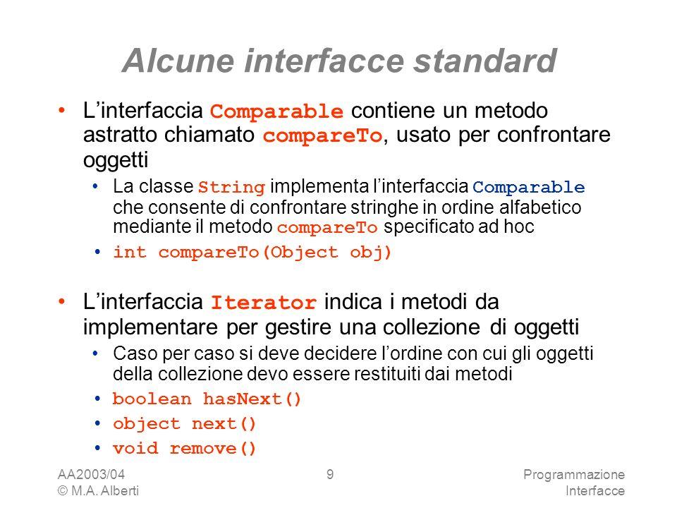 AA2003/04 © M.A. Alberti Programmazione Interfacce 9 Alcune interfacce standard Linterfaccia Comparable contiene un metodo astratto chiamato compareTo