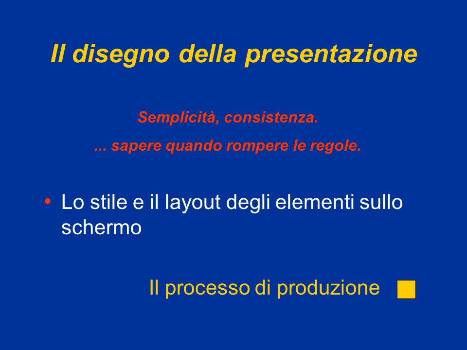 Il disegno della presentazione Lo stile e il layout degli elementi sullo schermo Semplicità, consistenza....