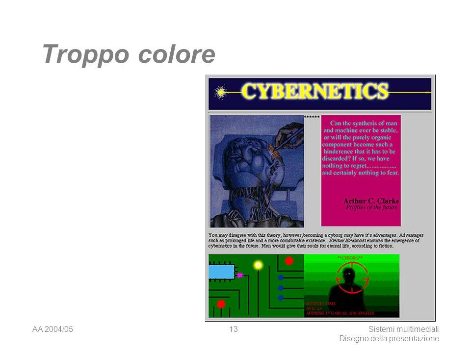 AA 2004/05Sistemi multimediali Disegno della presentazione 12 Il colore Non usare troppi colori Essere consistenti con i colori scelti Fig.1 ha colori coerenti e fonti senza grazie Fig.2 rosso su fondo blu difficile lettura, blu incoerente con altri colori, times è troppo accurato