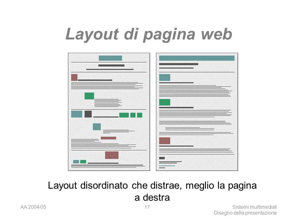 AA 2004/05Sistemi multimediali Disegno della presentazione 16 Layout di pagina web Layout inconsistente, meglio a blocchi