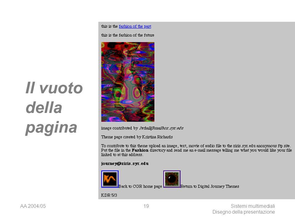 AA 2004/05Sistemi multimediali Disegno della presentazione 18 Lo spazio della pagina