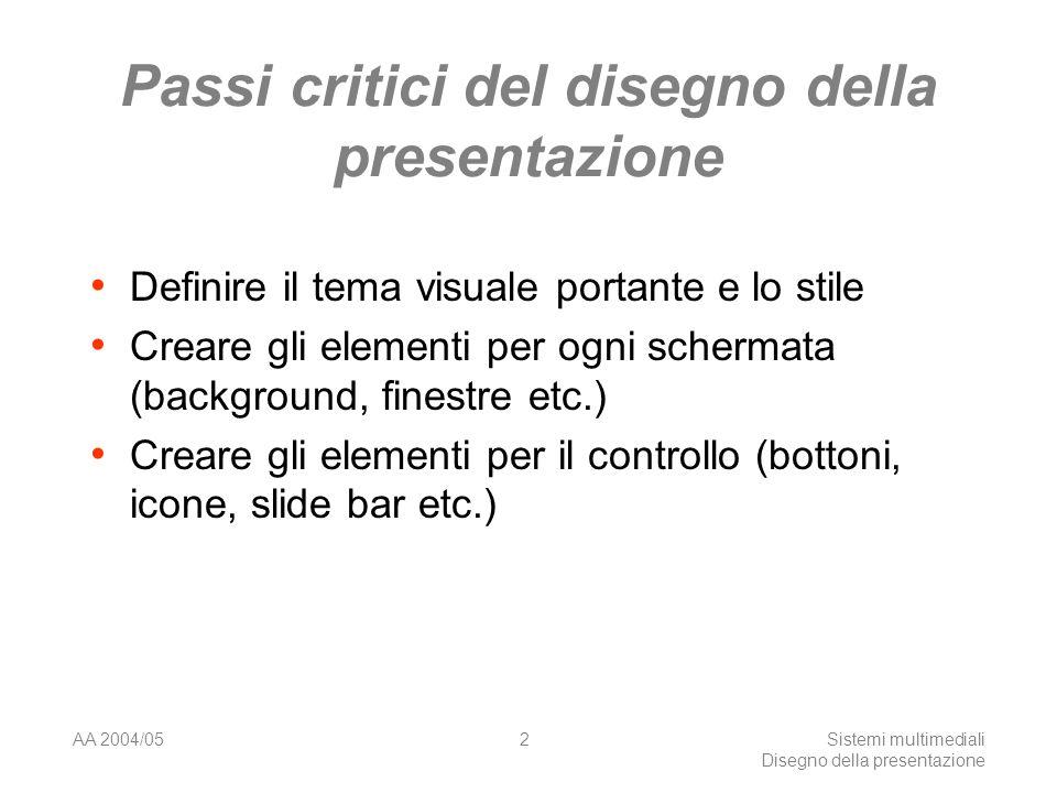 AA 2004/05Sistemi multimediali Disegno della presentazione 42 I frames Non eccedere perché spesso creano problemi.