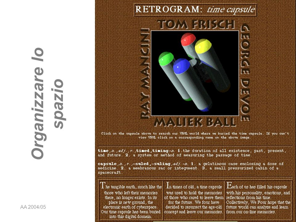 AA 2004/05Sistemi multimediali Disegno della presentazione 19 Il vuoto della pagina