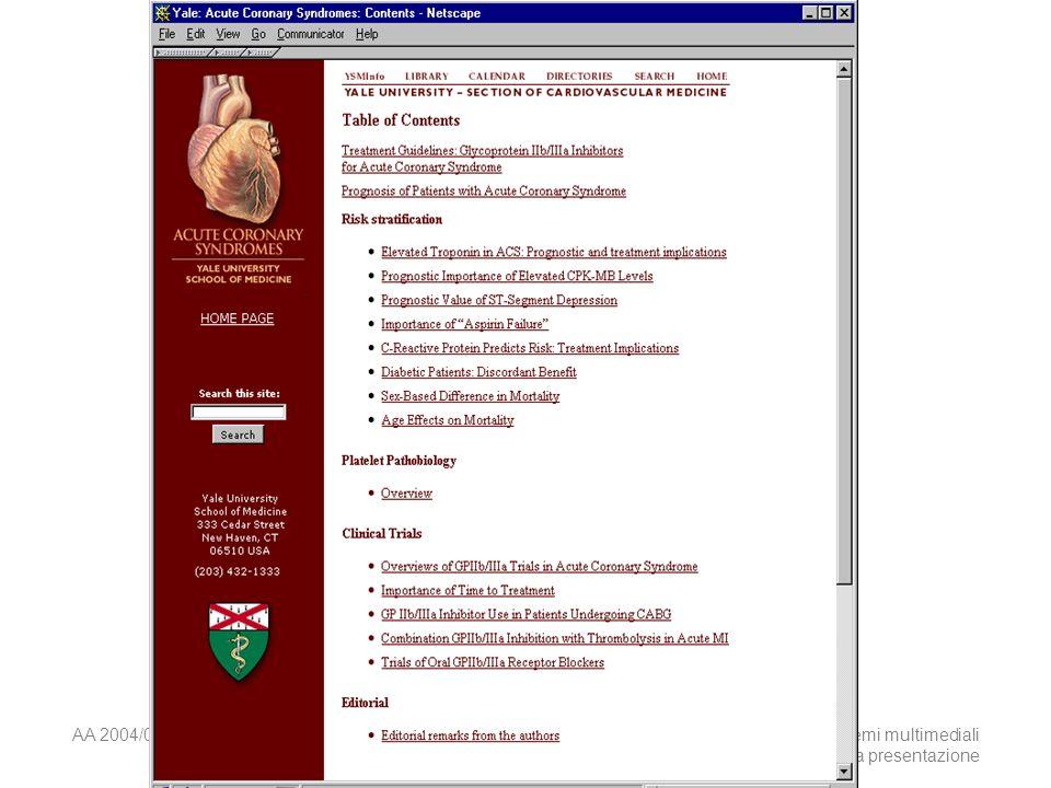 AA 2004/05Sistemi multimediali Disegno della presentazione 27
