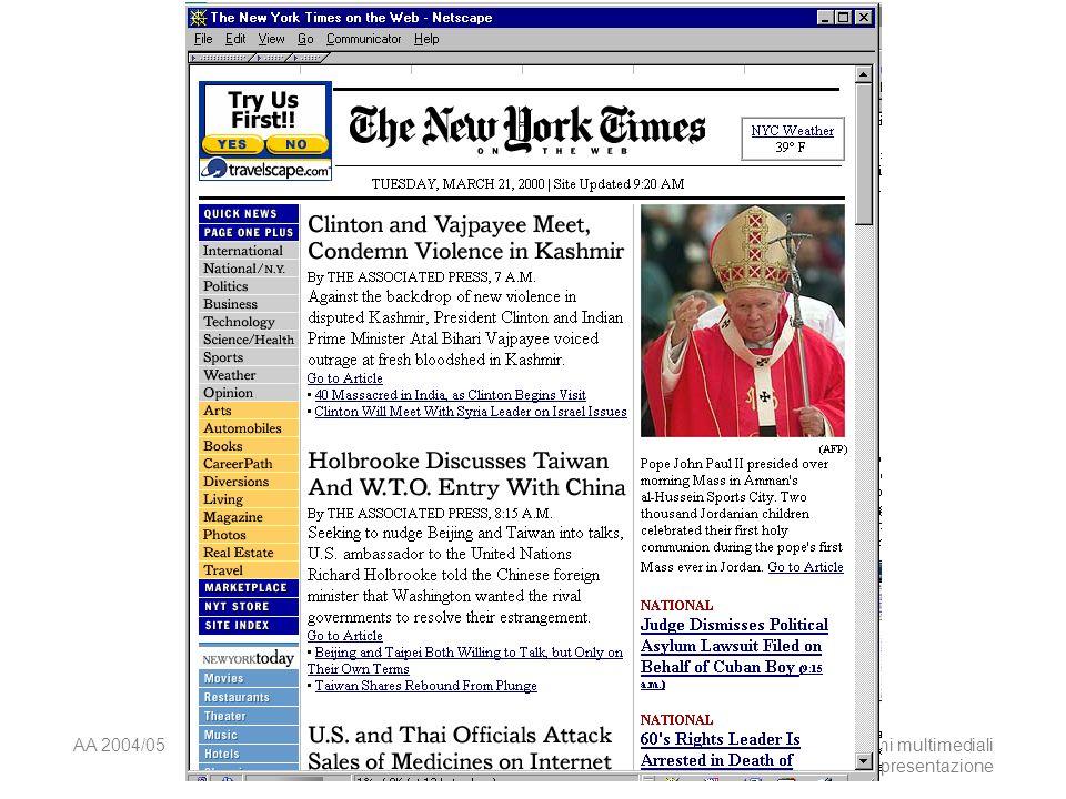 AA 2004/05Sistemi multimediali Disegno della presentazione 36 Pila di schermate Ribaltare la disposizione delle informazioni sulla pagina.