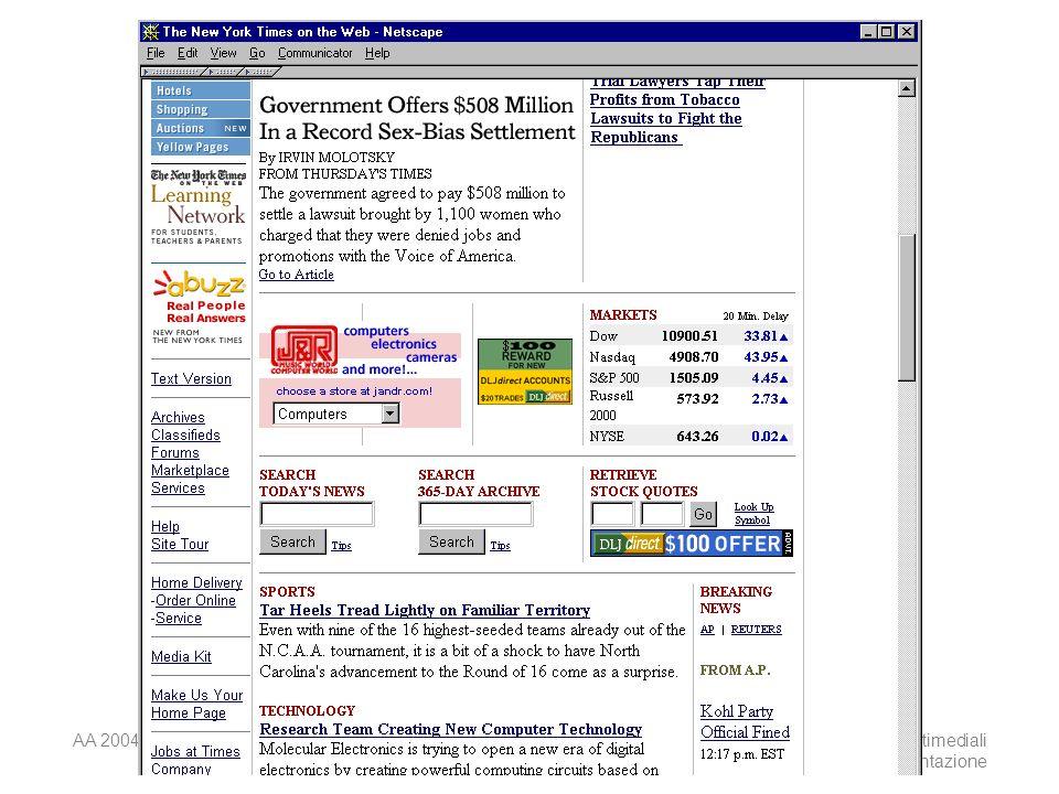 AA 2004/05Sistemi multimediali Disegno della presentazione 37