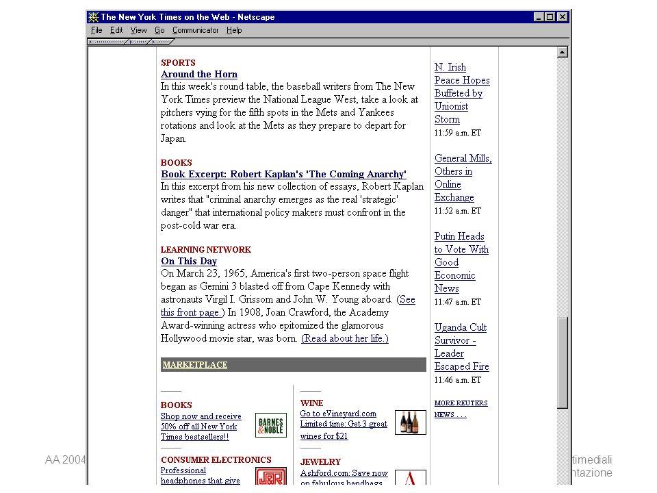 AA 2004/05Sistemi multimediali Disegno della presentazione 38
