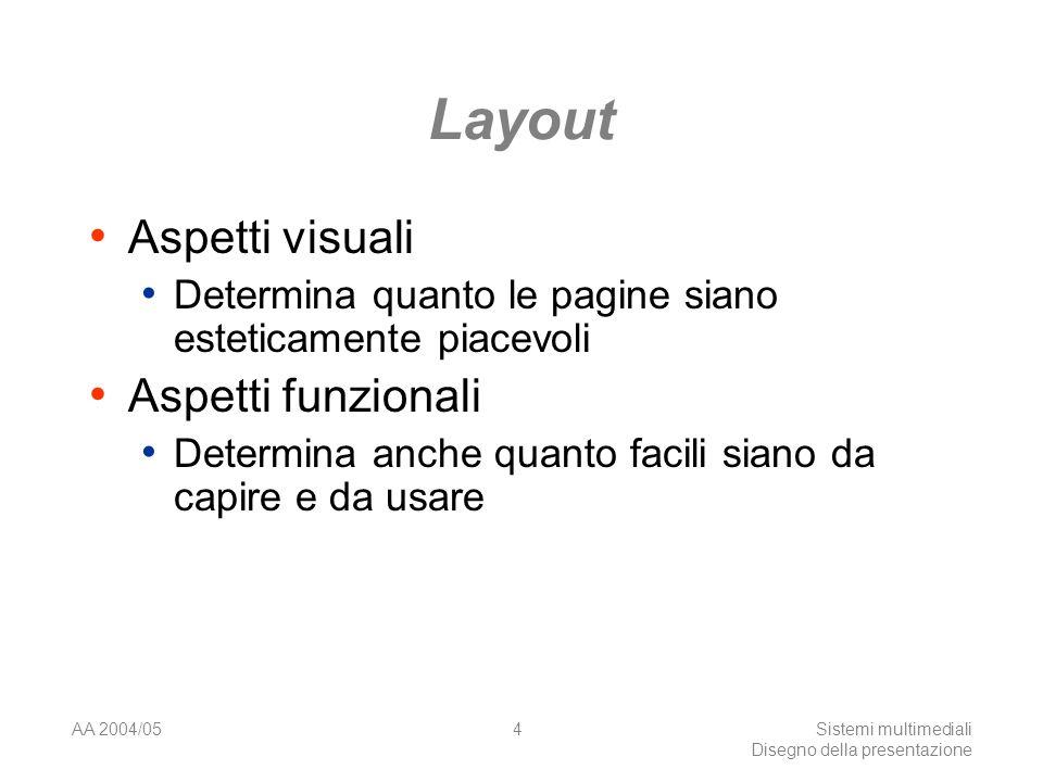 AA 2004/05Sistemi multimediali Disegno della presentazione 4 Layout Aspetti visuali Determina quanto le pagine siano esteticamente piacevoli Aspetti funzionali Determina anche quanto facili siano da capire e da usare