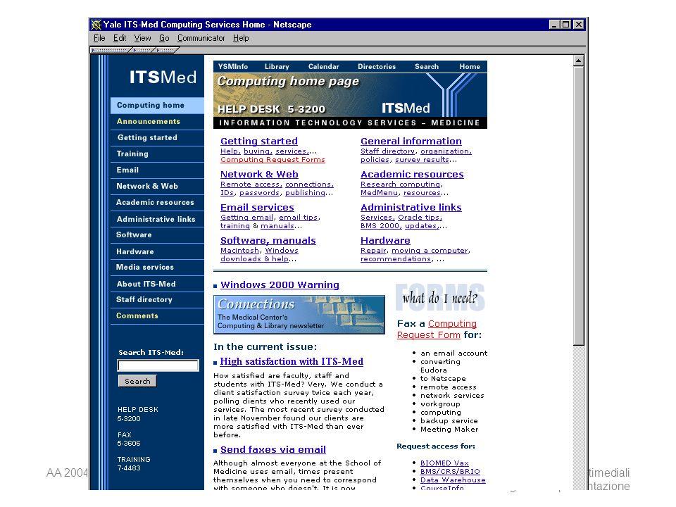 AA 2004/05Sistemi multimediali Disegno della presentazione 39