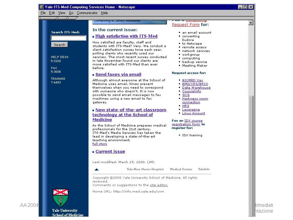 AA 2004/05Sistemi multimediali Disegno della presentazione 40