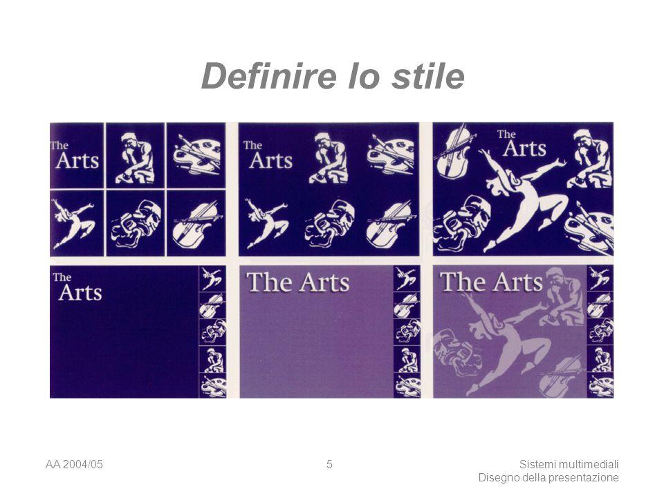 AA 2004/05Sistemi multimediali Disegno della presentazione 55 Sintesi - 2 Le pagine interne devono essere più semplici: lasciate che lutente si concentri sul contenuto Ridurre in ogni modo il carico cognitivo dellutente Evitare informazioni inutili o ridondanti