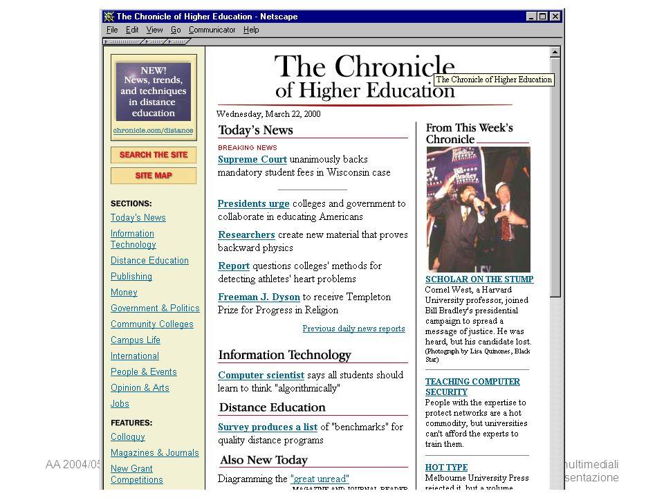 AA 2004/05Sistemi multimediali Disegno della presentazione 50 Principio Non disturbare il lettore che ha raggiunto il materiale cercato.