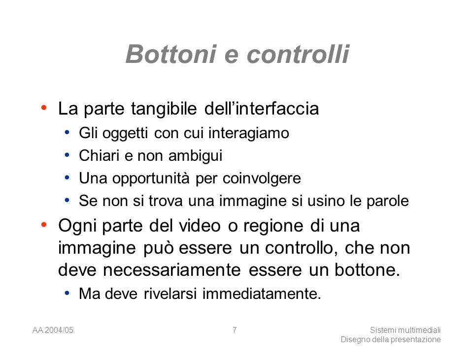 AA 2004/05Sistemi multimediali Disegno della presentazione 57