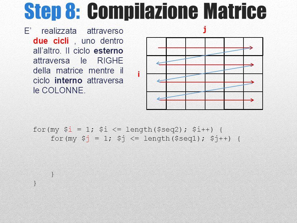 Step 8: Compilazione Matrice E realizzata attraverso due cicli, uno dentro allaltro.