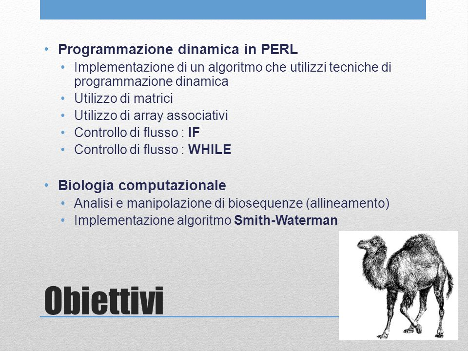 Obiettivi Programmazione dinamica in PERL Implementazione di un algoritmo che utilizzi tecniche di programmazione dinamica Utilizzo di matrici Utilizzo di array associativi Controllo di flusso : IF Controllo di flusso : WHILE Biologia computazionale Analisi e manipolazione di biosequenze (allineamento) Implementazione algoritmo Smith-Waterman