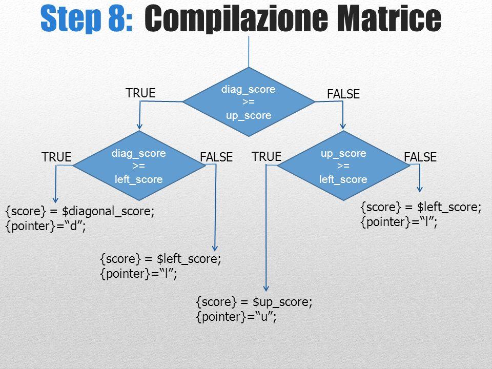 Step 8: Compilazione Matrice diag_score >= up_score TRUE FALSE TRUE FALSE up_score >= left_score TRUE diag_score >= left_score {score} = $diagonal_sco