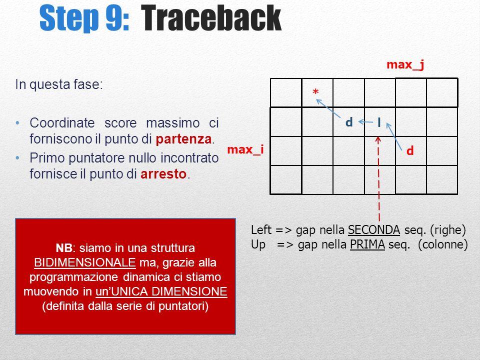 Step 9: Traceback In questa fase: Coordinate score massimo ci forniscono il punto di partenza.