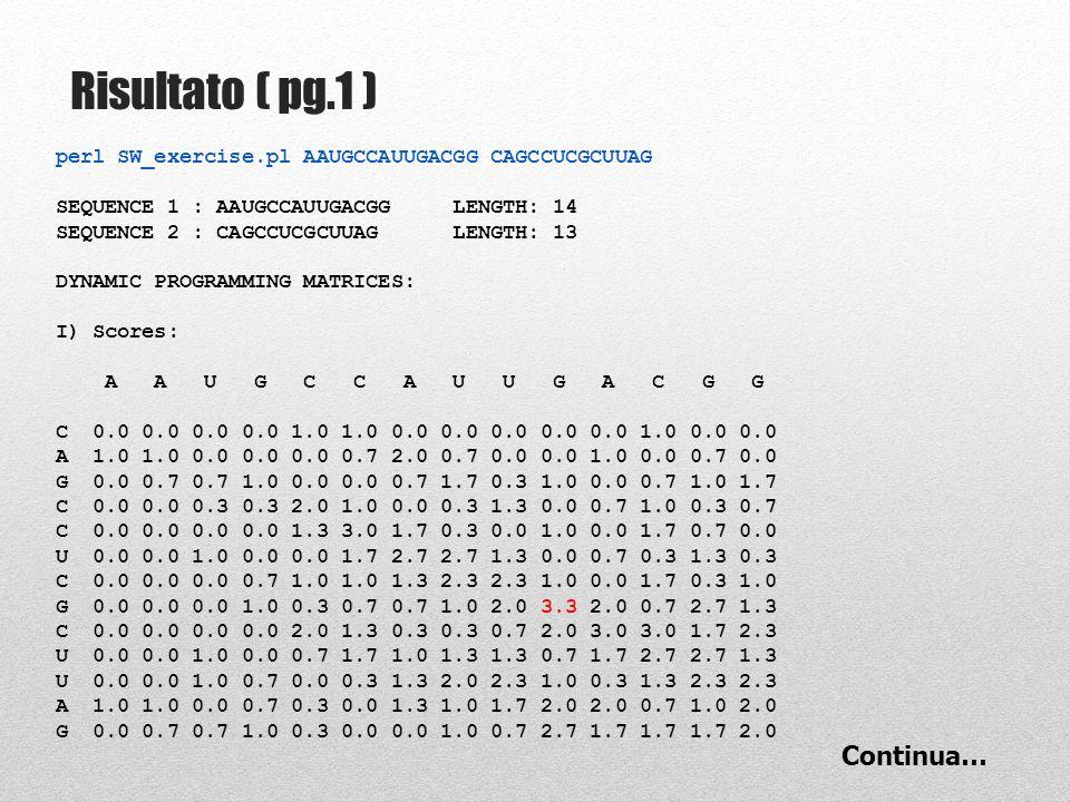 Step 8: Compilazione Matrice # calculate gap scores (unweighted linear mode) $up_score = #### FILL IN ###### $left_score = #### FILL IN ###### 3 CASI POSSIBILI: 1.match/mismatch 2.gap UP 3.gap LEFT