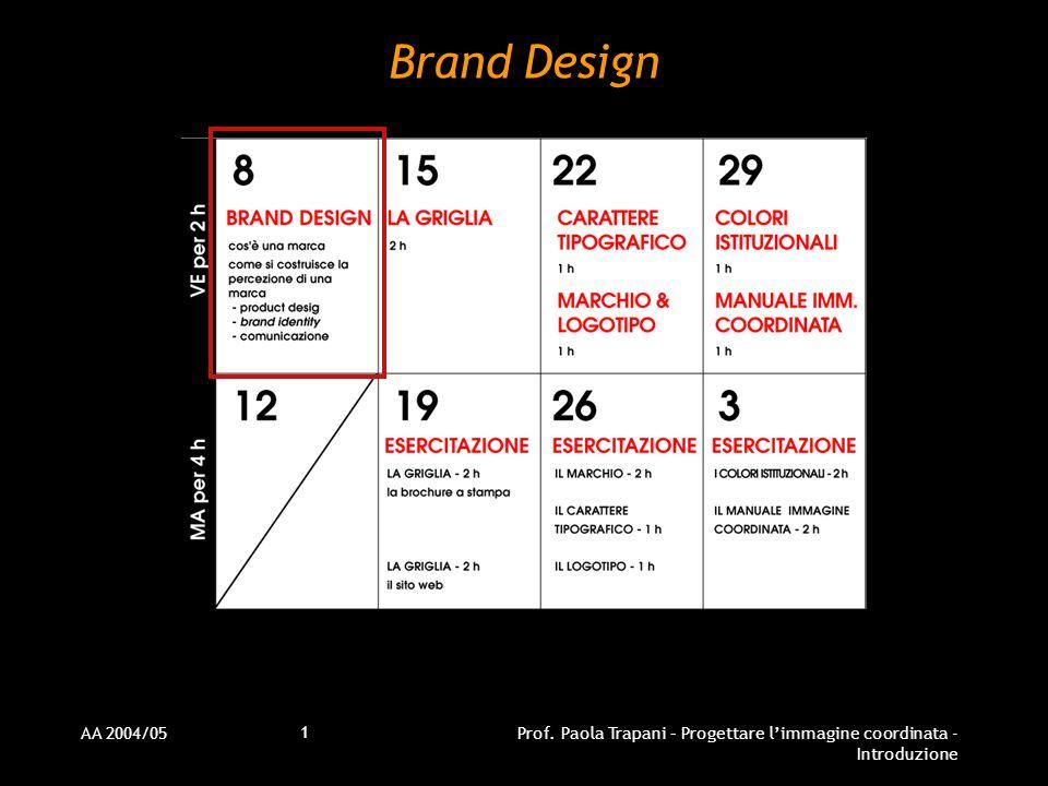 AA 2004/05Prof. Paola Trapani – Progettare limmagine coordinata - Introduzione 1 Brand Design