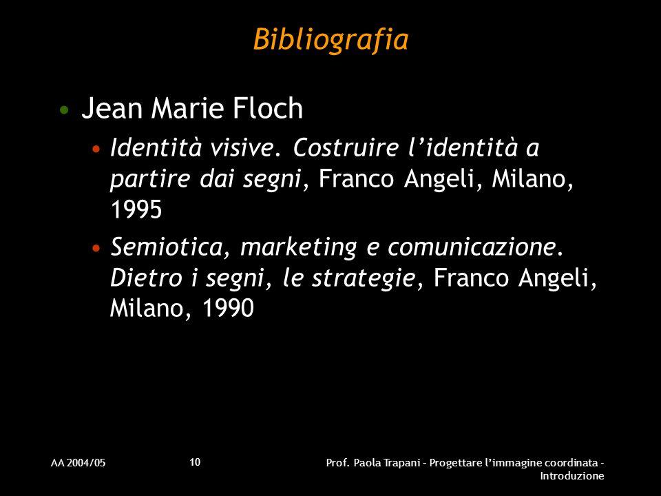 AA 2004/05Prof. Paola Trapani – Progettare limmagine coordinata - Introduzione 10 Bibliografia Jean Marie Floch Identità visive. Costruire lidentità a