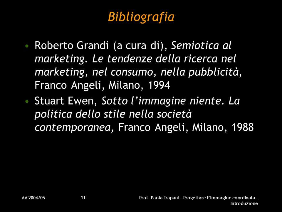 AA 2004/05Prof. Paola Trapani – Progettare limmagine coordinata - Introduzione 11 Bibliografia Roberto Grandi (a cura di), Semiotica al marketing. Le