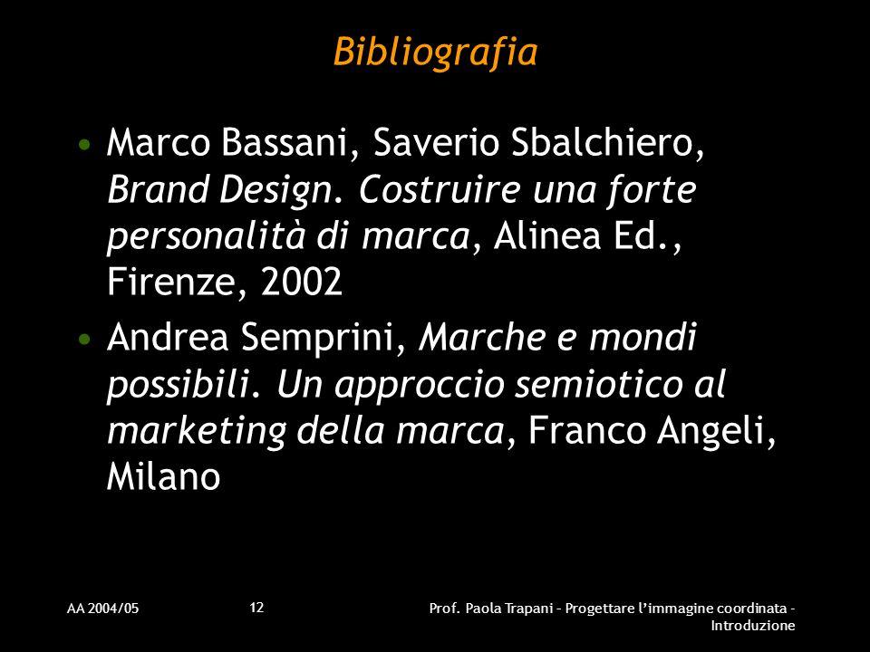 AA 2004/05Prof. Paola Trapani – Progettare limmagine coordinata - Introduzione 12 Bibliografia Marco Bassani, Saverio Sbalchiero, Brand Design. Costru