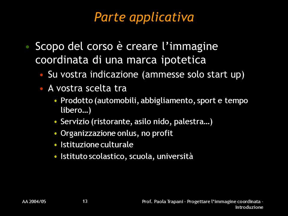 AA 2004/05Prof. Paola Trapani – Progettare limmagine coordinata - Introduzione 13 Parte applicativa Scopo del corso è creare limmagine coordinata di u