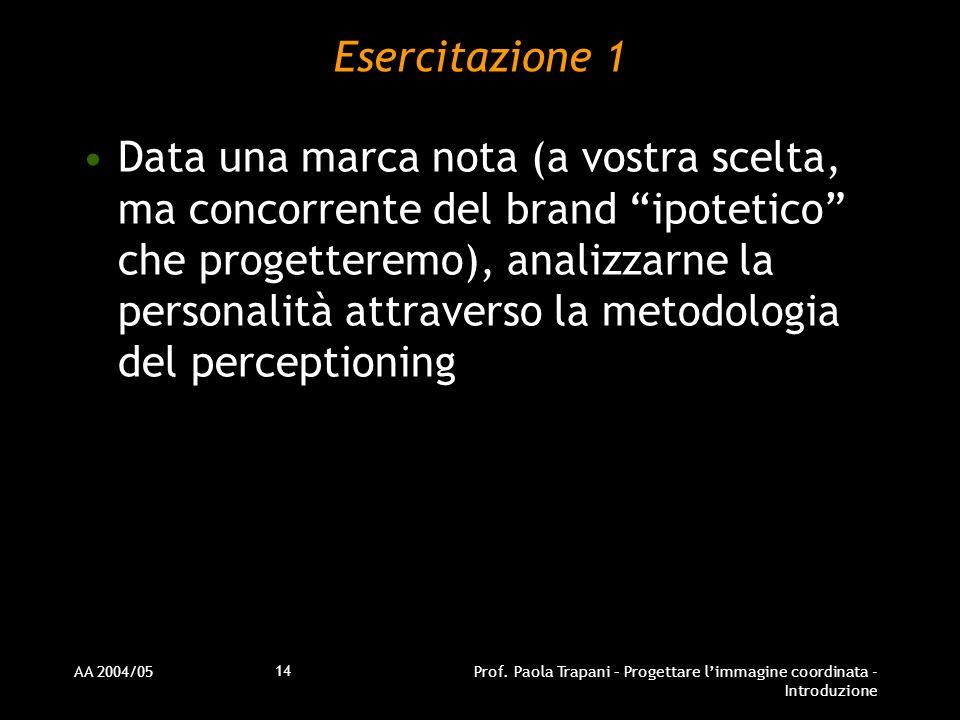 AA 2004/05Prof. Paola Trapani – Progettare limmagine coordinata - Introduzione 14 Esercitazione 1 Data una marca nota (a vostra scelta, ma concorrente