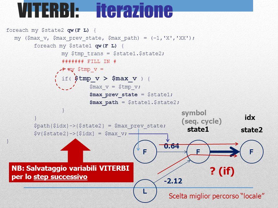 VITERBI: iterazione foreach my $state2 qw(F L) { my ($max_v, $max_prev_state, $max_path) = (-1,'X','XX'); foreach my $state1 qw(F L) { my $tmp_trans =