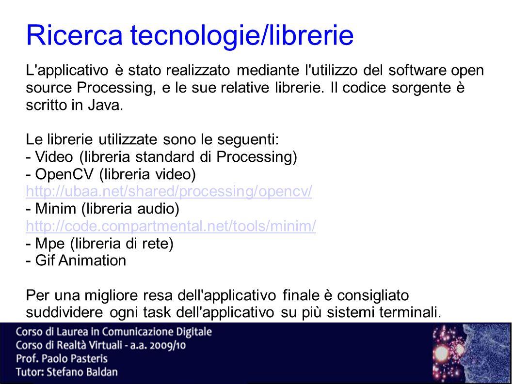 Ricerca tecnologie/librerie L'applicativo è stato realizzato mediante l'utilizzo del software open source Processing, e le sue relative librerie. Il c