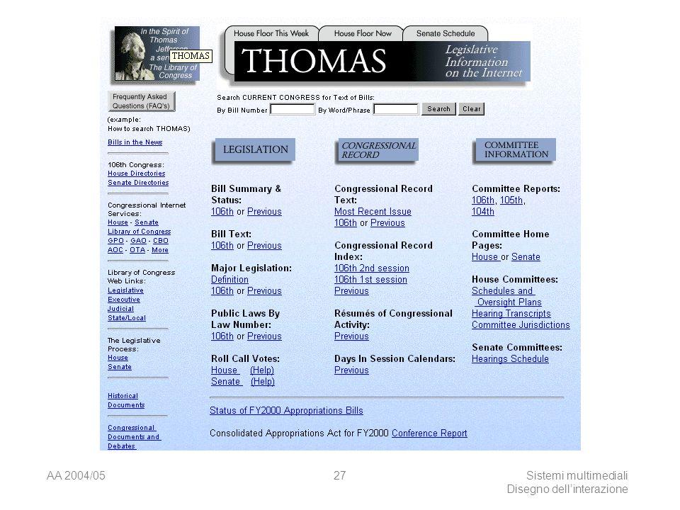 AA 2004/05Sistemi multimediali Disegno dellinterazione 26