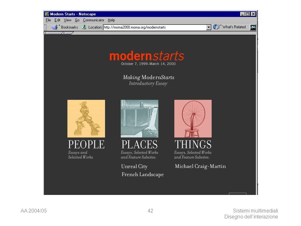 AA 2004/05Sistemi multimediali Disegno dellinterazione 41