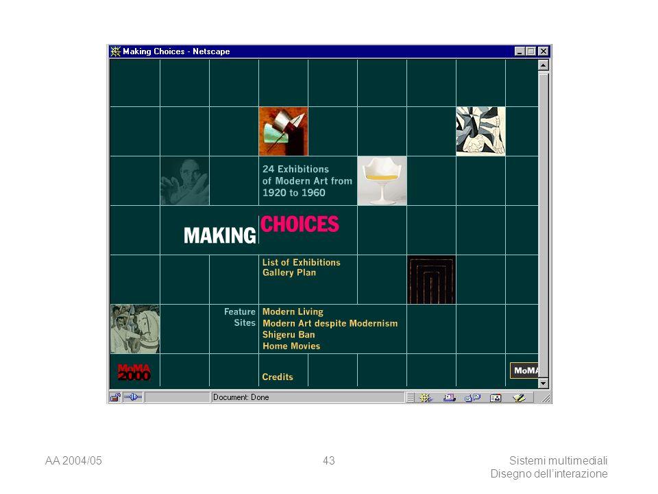 AA 2004/05Sistemi multimediali Disegno dellinterazione 42