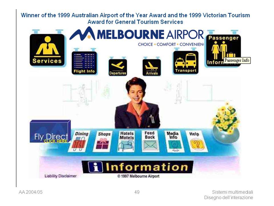 AA 2004/05Sistemi multimediali Disegno dellinterazione 48