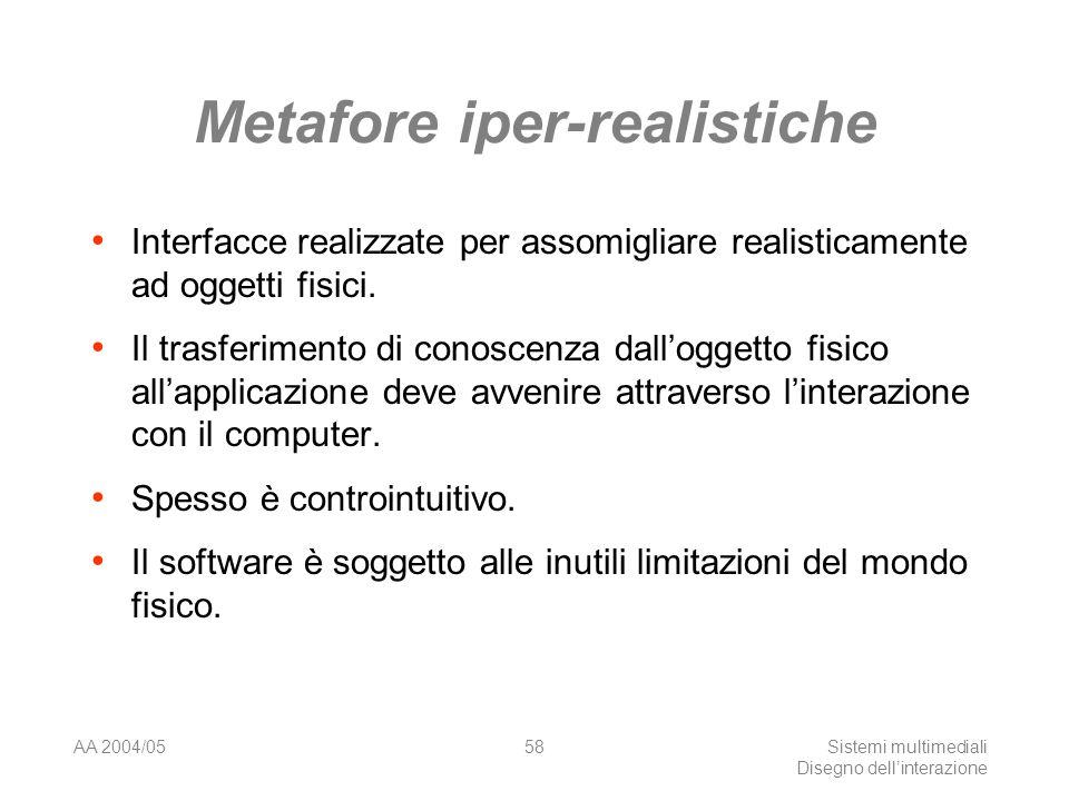 AA 2004/05Sistemi multimediali Disegno dellinterazione 57 La metafora del VCR Finestra di dialogo per la stampante Cosa fa il bottone rewind: Riavvolge la carta.